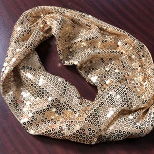 Gold sequin infinity scarf from Charlotte Russe!